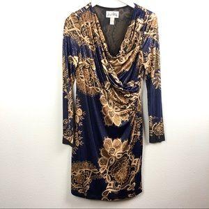 Joseph Ribkoff gold ornate pattern midi wrap dress